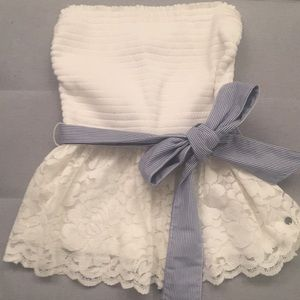 White strapless top with blue/white belted ribbon